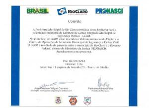 CONVITE INAUGURAÇÃO CENTRO DE MONITORAMENTO E 16º ANIVERSÁRIO DA GUARDA CIVIL DE RIO CLARO