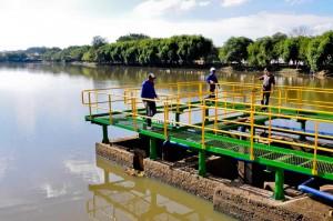 Comporta eletrônica é instalada para controlar vazão no Lago Azul