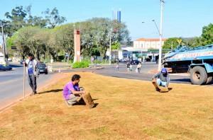 Prefeitura inicia paisagismo da obra no antigo pontilhão da 7