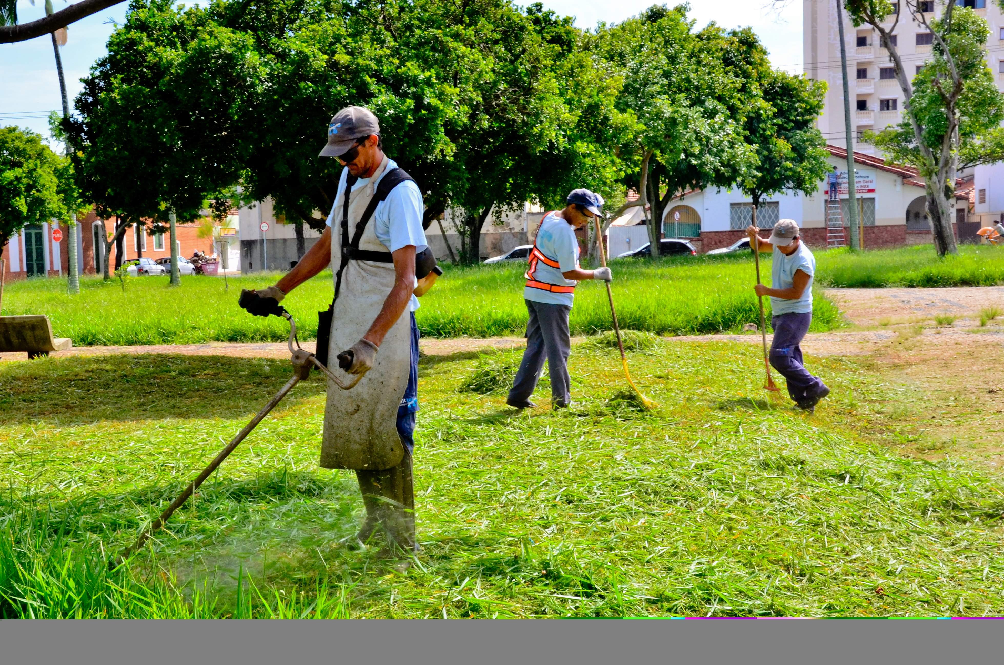 Serviços de limpeza e corte de mato em várias regiões da cidade