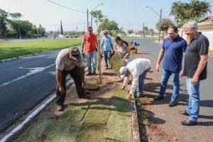 Canteiros centrais do Jardim Floridiana recebem plantio de grama