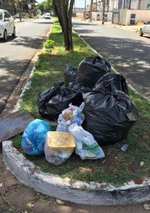 Sacos de lixo não devem ser colocados em canteiros centrais