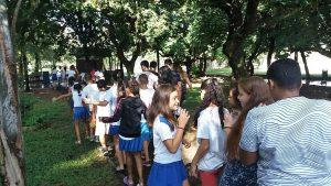 Alunos do Caic fizeram atividades  sobre Dia da Água no Lago Azul