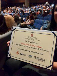 Rio Claro é premiado em SP por  ações de combate à tuberculose
